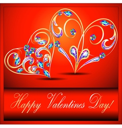 Postcard on valentines day with the heart vector