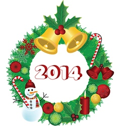2014 Christmas wreath vector image vector image