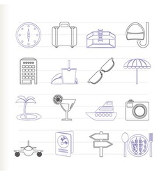 Trip and tourism icons vector