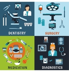 Medicine and pharmacology flat icons vector