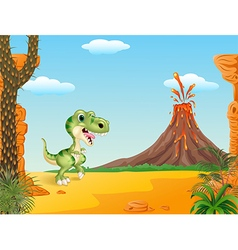 Cartoon funny dinosaur with prehistoric background vector