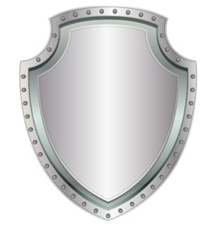 Empty steel shield blank metal badge with rivets vector