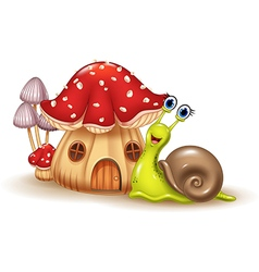 Beautiful mushroom house and happy snail cartoon vector