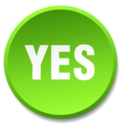 Yes green round flat isolated push button vector