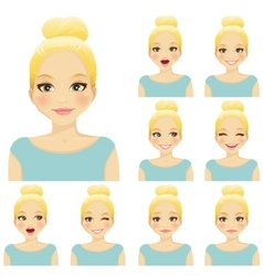 Woman expression set vector image