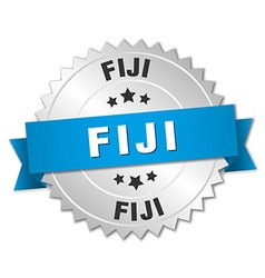 Fiji round silver badge with blue ribbon vector