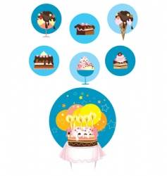 birthday cake and desserts vector image