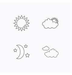 Weather sun and cloudy icons vector