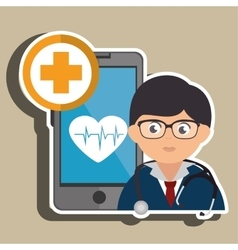 Doctor cellphone and heart isolated icon design vector