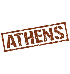 Athens brown square stamp vector
