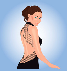 beautiful woman in black dress with lace decor vector image