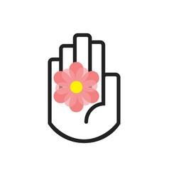 Black line hand symbol holding pink flower vector