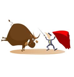Bullfighter and a bull isolated vector