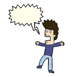 cartoon terrified man with speech bubble vector image vector image