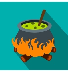 Cauldron with green potion flat icon vector