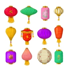 Chinese paper lanterns icons set cartoon style vector