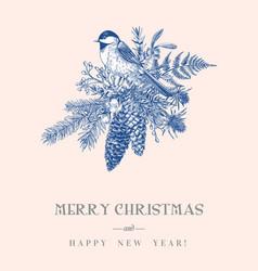 christmas card with a bird vector image vector image