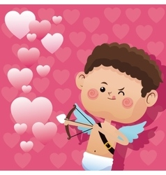 cute little cupid valentine day shooting bow vector image