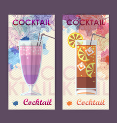 Flat cocktail design on artistic background vector