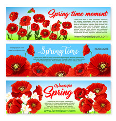 Floral banners for spring holiday greetings vector