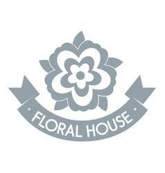 flower elegance logo simple gray style vector image