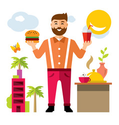 happy hipster man with hamburger and drink vector image vector image