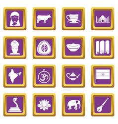 India travel icons set purple vector