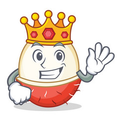 King rambutan mascot cartoon style vector