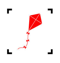 Kite sign red icon inside black focus vector
