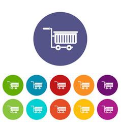 large plastic supermarket cart icons set vector image