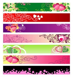 love hearts website banners vector image vector image
