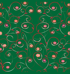Seamless flower abstract pattern with leaves and vector