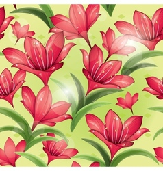 seamless pattern - red lilies vector image