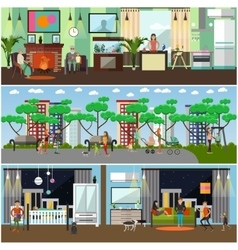 Set of family concept design elements in vector
