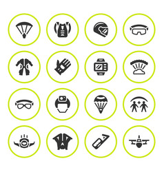 Set round icons of parachute vector