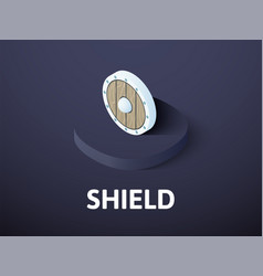 Shield isometric icon isolated on color vector