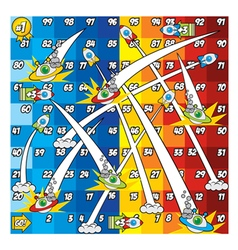 Snake and ladder game rocket and ufo version vector