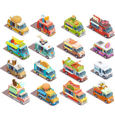 Street Food Trucks Isometric Icons Collection vector image vector image