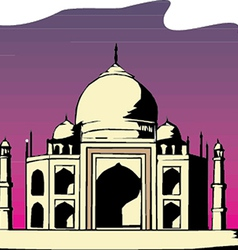 Taj-mahal temple silhouette vector image vector image