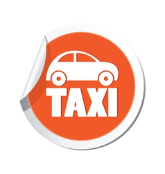 taxi icon orange sticker vector image vector image