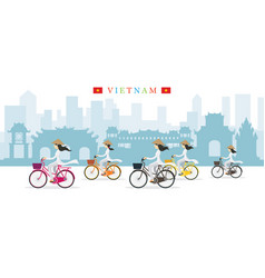 Vietnamese women with conical hat ride bicycles vector