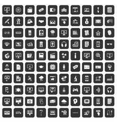 100 website icons set black vector