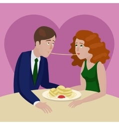 Couple in love eating spaghetti on a date vector image