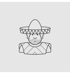 Flat contour icon mexican hat and cape vector