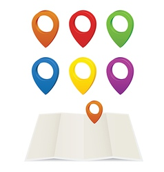 Set of glossy colorful map pins vector