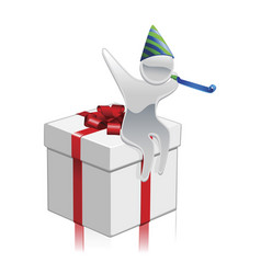 metallic cartoon mascot gift concept vector image