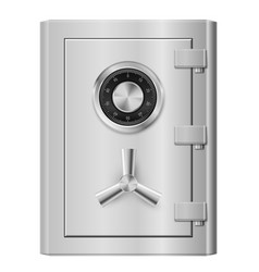 Realistic steel safe on white background vector