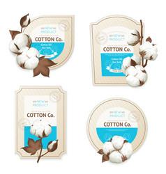 cotton emblem package icon set vector image
