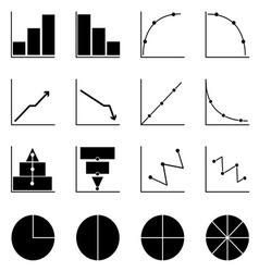 Applied graph icons on white background vector image