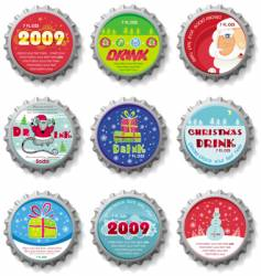 Christmas bottle caps buttons vector image